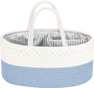 COSYLAND Organizador de pañales para bebé, cuerda de algodón, gran capacidad, bolsa portátil, cesta de almacenamiento para...