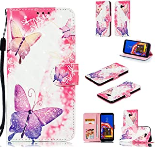 tinyue® Samsung Galaxy J4 Plus/Galaxy J4+ Funda, Cubierta de Billetera de Cuero PU Color 3D Tapa abatible Funda, Patrón de Mariposa Rosa, para Samsung Galaxy J4 Plus/Galaxy J4+, A1