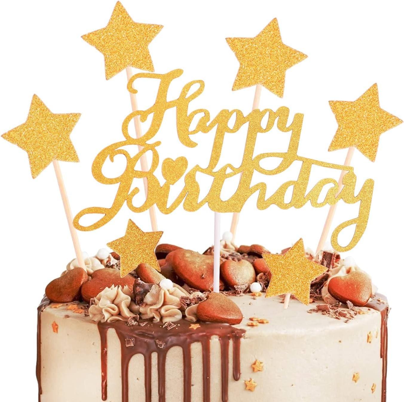 DERAYEE Fashionable Superior 11Pcs Gold Birthday Cake Happy Decoration