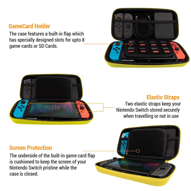 Funda de Orzly para Transportar la Nintendo Switch – Amarillo Funda Dura de Viaje para Llevar la Nintendo Switch y Sus Accesorios: Amazon.es: Electrónica