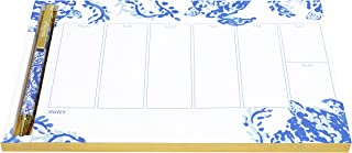 Lilly Pulitzer Undated Weekly Planner Desk Pad and Black Ink Pen, Notepad Includes 52 Sheets for 1 Year of Planning, Turtley Awesome