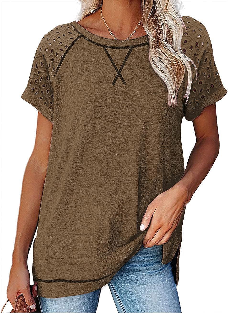 Hestenve Women's Short Sleeve Casual Crewneck Side Split Fashion T Shirts Loose Tunic