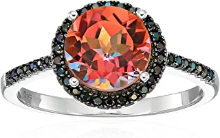 Sterling Silver Sunset Orange Topaz And Black Spinel Halo Engagement Ring, Size 7