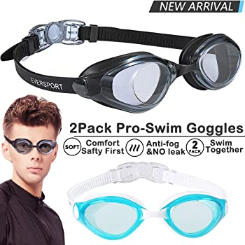 EverSport Swim Goggles Pack of 2 Swimming Goggles Anti Fog for Adult Men Women Youth Kids