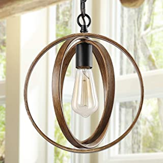 """ISURAUL Globe Pendant Lighting, 11"""" Farmhouse Orb Chandelier for Dining Rooms, Hanging Light Fixture for Kitchen Island, Faux-Wood Finish"""