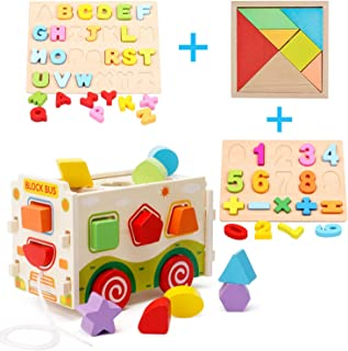 HM-tech Wooden Shape Sorter Toys, Wooden Shape Sorter Bus with Tangram & Number Alphabet Puzzle Board, Classic 3D Push Pull Truck Toy for Toddlers Learning Sort and Match for 1 2 Year Old