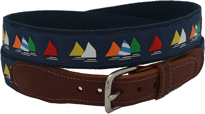 Preston Leather Men's Rainbow Fleet Ribbon Belt Size 34