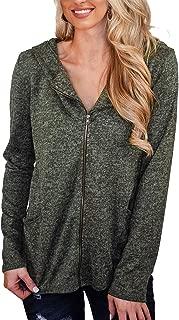 KIRUNDO Women's Zipper Sweatshirt Jacket with Hood Long Sleeves Full Length Zip Front Pockets Coat