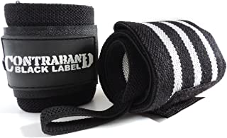 Contraband Black Label 1001 Weight Lifting Wrist Wraps w/Thumb Loops (Pair) - Competition Grade Wrist Support USPA Approved for Powerlifting, Bodybuilding, Strongman