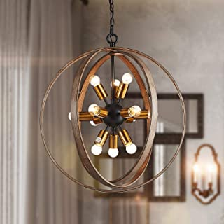 """Saint Mossi Oaky Wood Painted Metal and Warm Brass Finish Orb Chandelier 12 Lights 24"""" inch Wide Chandelier Lighting"""