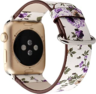 YOSWAN Bracelet for Apple Watch, National Black White Floral Printed Leather Watch Band 38mm 42mm Strap for Apple Watch Flower Design Wrist Watch Bracelet (White+ Purple Flower, 38mm)