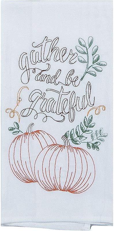 Kay Dee Embroidered Be Grateful Pumpkin Thanksgiving Flour Sack Dish Towel 18 X 28