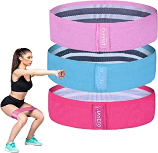 Jayefo Sports Fabric Resistance Bands Set of 3 for Women & Men Non Slip Exercise Legs Glute Squat Women's Hip Workout Band...