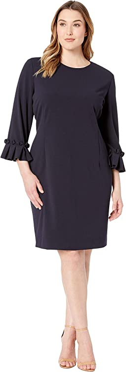 Plus Size 3/4 Sleeve Crepe Sheath with Sleeve Detail