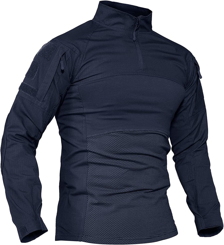 TACVASEN Men's Tactical Shirt Cheap mail order shopping 1 4 Assault Year-end annual account Zip Military Top Long