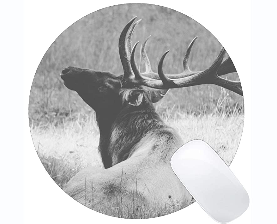 Round Mouse Pad with Deer Antlers Animal -Stitched Edges