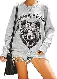 Women's Mama Bear Sweatshirt Crewneck Long Sleeve Graphic Cute Pullover Top