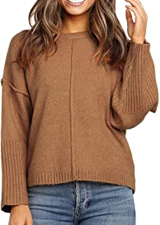 LEKODE Women Sweater Fashion Solid Long Sleeve Knitted Coat