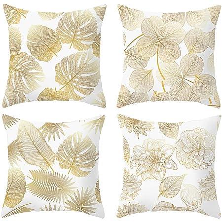 ARNTY Federa per Cuscino 45x45cm, Federa Copri Cuscino Decorativo Caso Stampa Floreale Divano Letto Home Bed(Foglie D'oro02, Velluto)