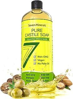 EWG Verified Castile Soap 33.8 fl oz - No Palm Oil, GMO-Free - Unscented Mild & Gentle Liquid Soap For Sensitive Skin & Baby Wash - All Natural Vegan Formula with Organic Carrier Oils