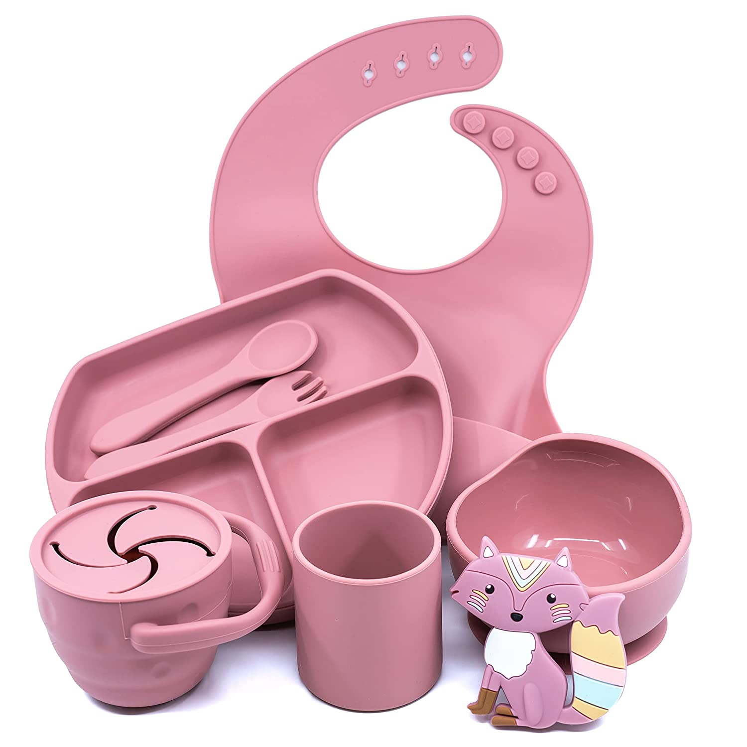 Muqee Peeko Rose Pink Baby Feeding Supplies - Toddler Self-Eating Plates Set with Utensils - Divided Plate, Suction Food Bowl with Spoon, Fork - Silicone Bib, Teething Toy, Snack Cup - (10 Piece Set)