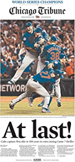 Chicago Cubs Win World Series Game 7 Newspaper Chicago Tribune-