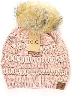 Motobear Authentic Women's Exclusives Beanie Soft Stretch Cable Knit Pom Pom Beanie Hat