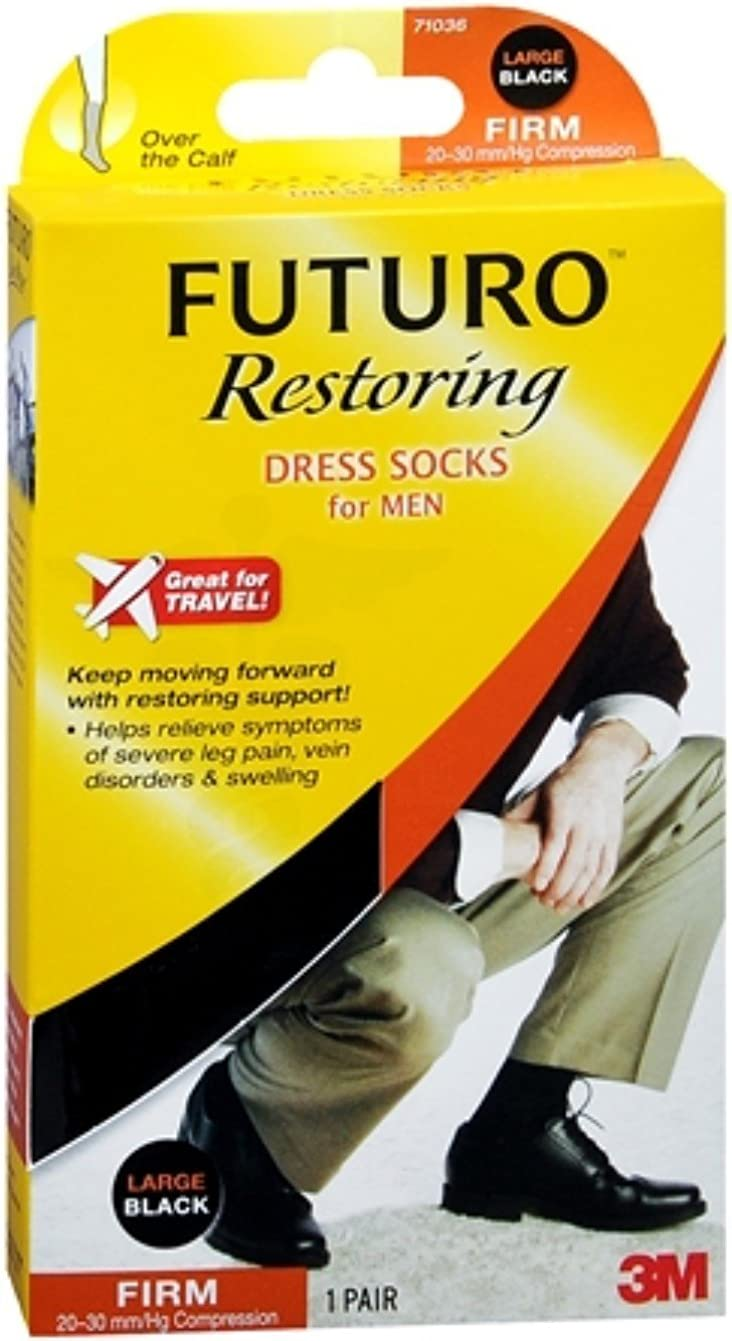 FUTURO Lifestyle Compression Dress Socks New item Men for Blac Classic Large Firm