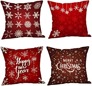 Unionm 86# Pillow Covers Christmas Decor Throw Pillow Case Flax Red Black Beige Tree Snowflake Gift Merry Christmas Square 45 x 45 cm 18 x 18 inch Cushion Cover for Home Sofa Car Pack of 4-2