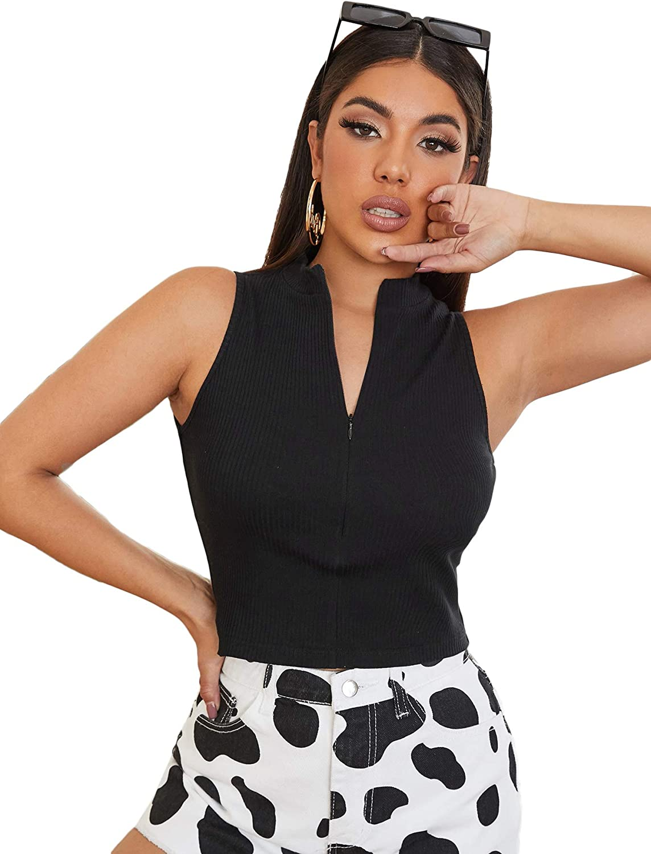 SheIn Women's Mock Neck Zipper Up Crop Tank Top Sleeveless Rib Knit Solid Vest