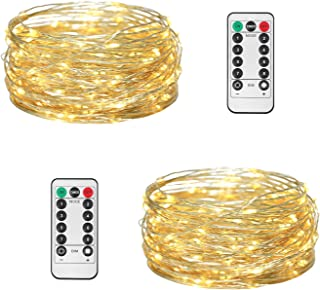 JMEXSUSS 2 Pack 8 Modes Timer Remote Control Fairy String Light 100 LED 32.8ft Battery Operated Waterproof Dimmable Copper Wire Lights for Christmas, Room, Wedding (100LED, Warm White 2 Pack)