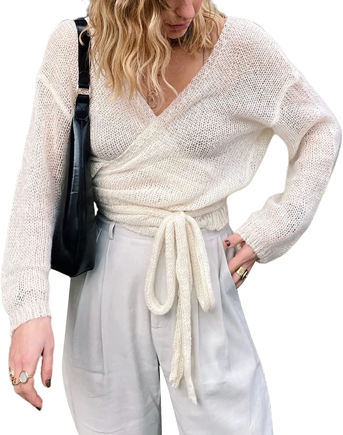 Womens Lightweight Knit Shrug Tie Front Long Sleeve Wrap Open Front Cardigan Top