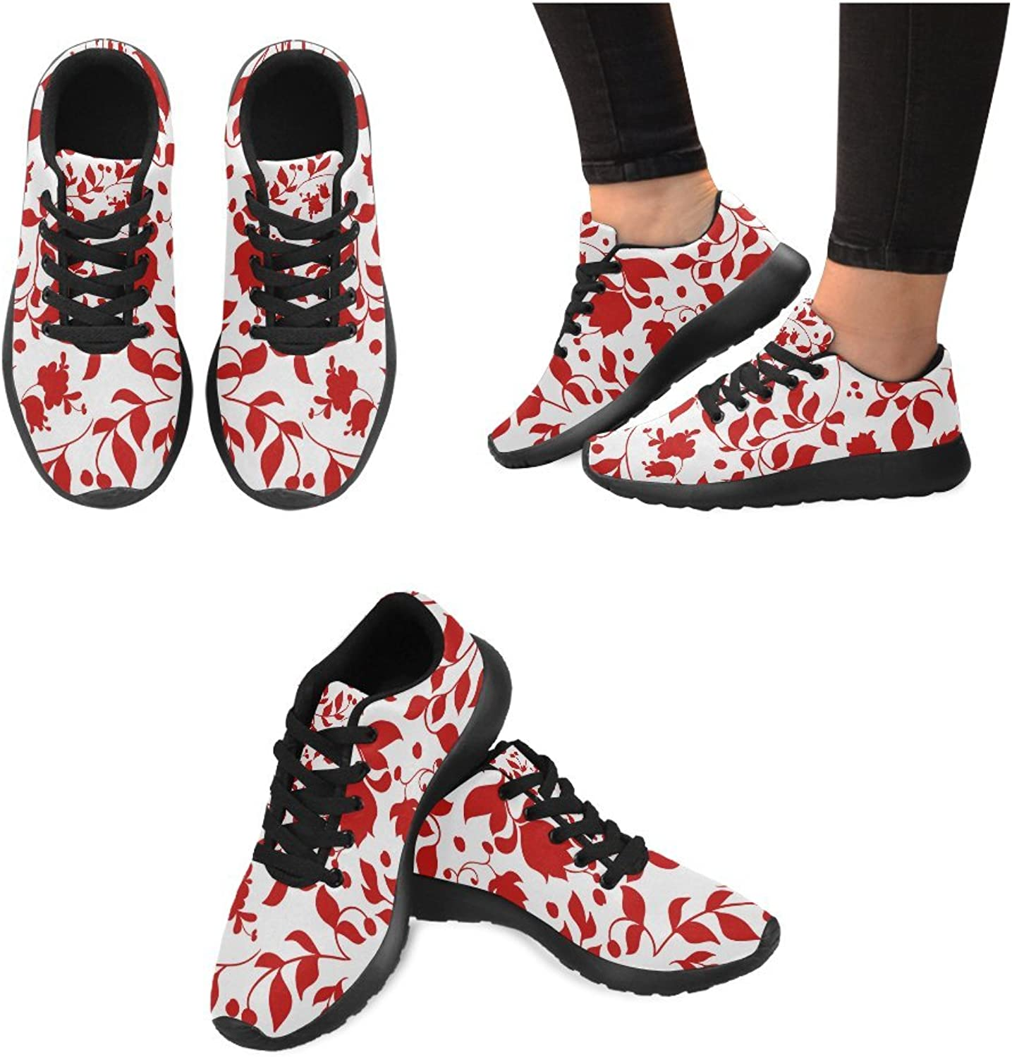 InterestPrint red pink Leaves Floral Print on Women's Running shoes Casual Lightweight Athletic Sneakers US Size 6-15