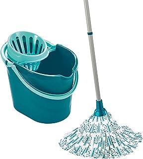 Leifheit Set Classic Mop, seau essoreur avec lave-sol, balai à franges en viscose très absorbantes, support essoreur prati...