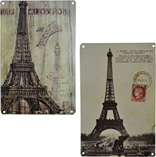 LIPTOR Paris Wall Decor Art Home Sign Kitchen Signs Vintage Poster Metal Eiffel Tower Tins Style Tin Recycle Novelty Bathroom Plaques Cafe 2Pcs-8X12Inch