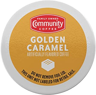Community Coffee Golden Caramel Flavored 72 Count Coffee Pods, Medium Roast, Smooth Buttery Taste, Compatible with Keurig ...