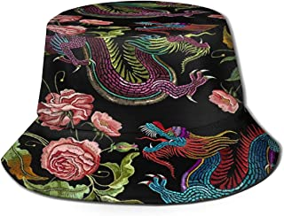 Fisherman Hat Chinese Dragons Flowers Peonies Pattern Bucket Hat Unisex 3D Printed Packable Bonnie Cap UV Protect Lightweight Sun Hat for Picnic Hunting Fishing Golf Hiking