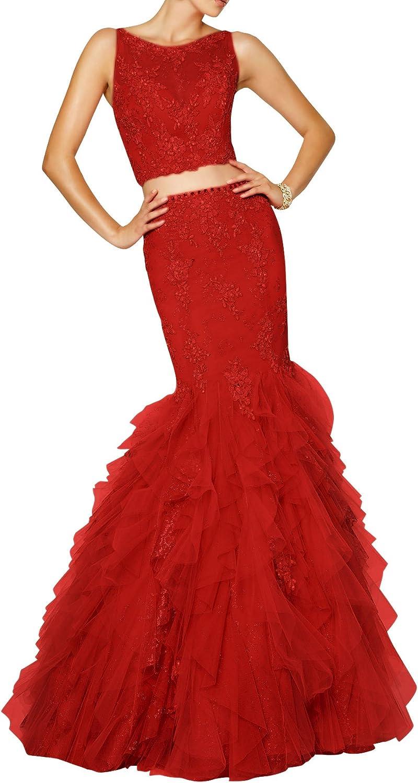 DAPENE® Women's Lace Beaded Mermaid Midriff Open Back 2 Piece Evening Dress
