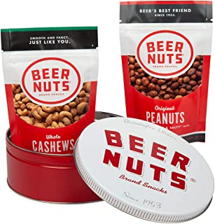 BEER NUTS Collectible Gift Set Tin with Original Peanuts and Cashews, Low Sodium, Gluten Free Nuts