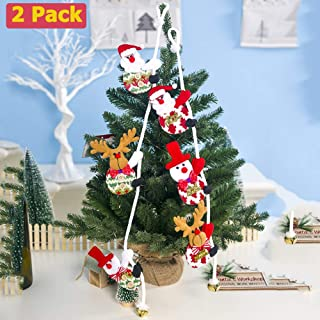 2 Pieces Christmas Tree Hanging Ornaments Decorations Including Santa Claus Snowman Bear Elk Jingle Bell Climbing Rope Pendant for Xmas Holiday Party Home Decor (red)