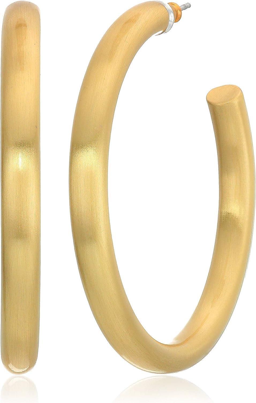 Lucky Brand Women's Gold Large Tubular Hoop Earrings, One Size