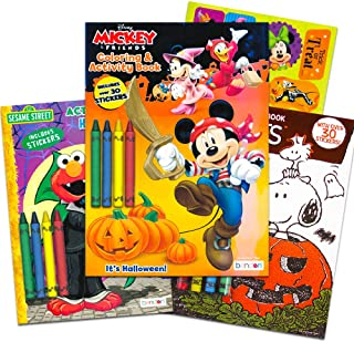 Disney Sesame Street Halloween Coloring Books Super Set Kids Toddlers (3 Books Featuring Disney Mickey Mouse, Charlie Brown, Elmo and More)