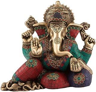 "9"" Tall Sitting Lakshmi Ganesh Statue Brass Bronze Sculpture Hindu God Figurine Home Decor Gift"