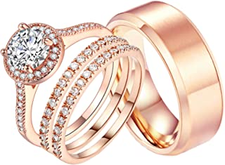 Ahloe Jewelry 1.7Ct Cz 18k Rose Gold Wedding Ring Sets for Him and Her Women Men Titanium Stainless Steel Bands Couple Rings