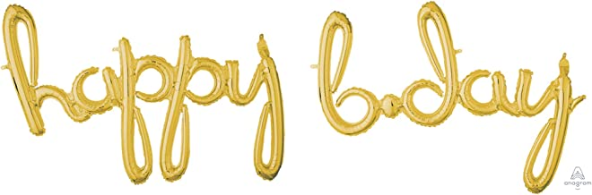 "amscan 2-pc Gold ""Happy B.day"" 3D Script Foil Balloon"