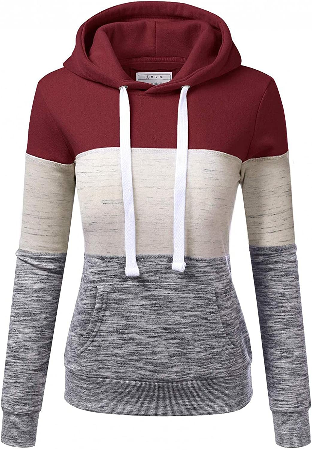 lucyouth Fall Sweatshirts for Women Casual Color Block Hoodies Tops Long Sleeve Drawstring Lightweight Pocket Pullovers