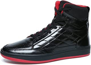 Soulsfeng Men Women High Top Skateboarding Shoes Flat Lace Up Cowhide Leather Casual Sneaker