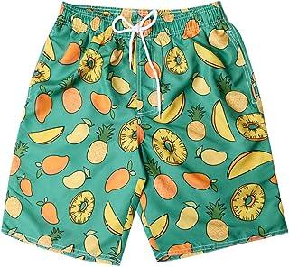 38a063484f MEETEW Mens Fashion Print Swim Trunks Surf Board Boxer Summer Cool Quick Dry  Board Shorts Elastic