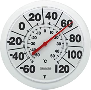 "Springfield 90050 8"" Indoor/Outdoor Dial Thermometer, White"