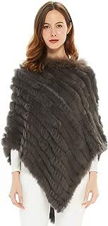 Women's Winter Elegant Knitted Rabbit Fur Poncho Cape with Warm Raccoon Fur Collar with Asymmetrical Hem